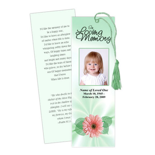 Blossom Memorial Bookmark Template
