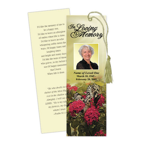 Bouquet Memorial Bookmark Template