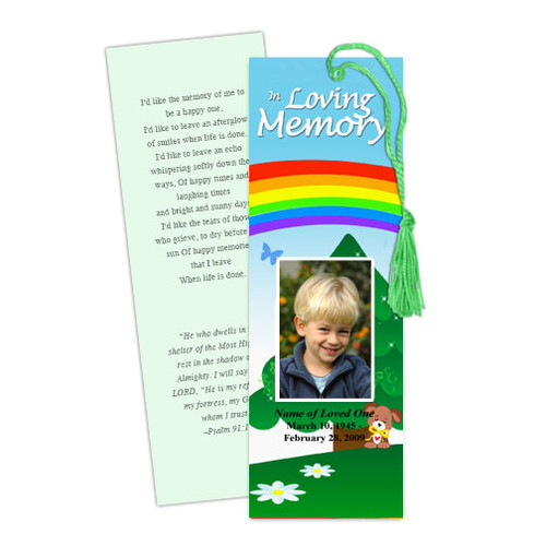 Delight DIY Funeral Memorial Bookmark Template
