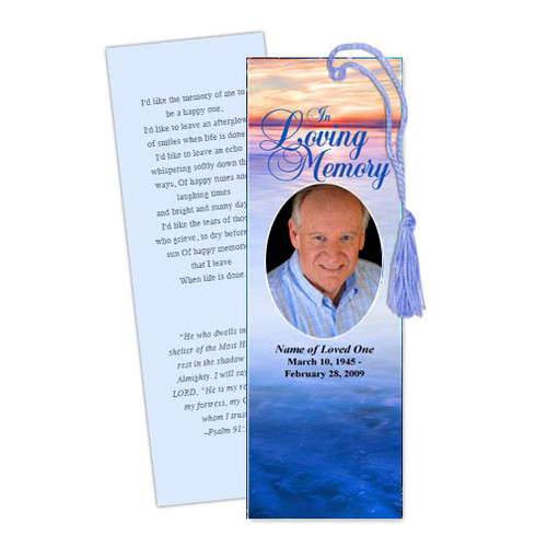 Dusk DIY Funeral Memorial Bookmark Template