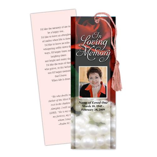Elegance DIY Funeral Memorial Bookmark Template