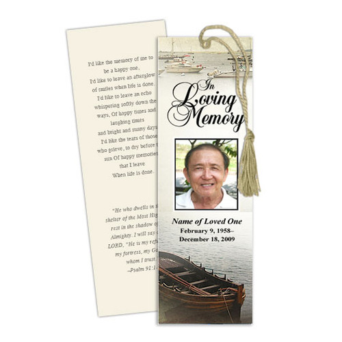Fishing DIY Funeral Memorial Bookmark Template