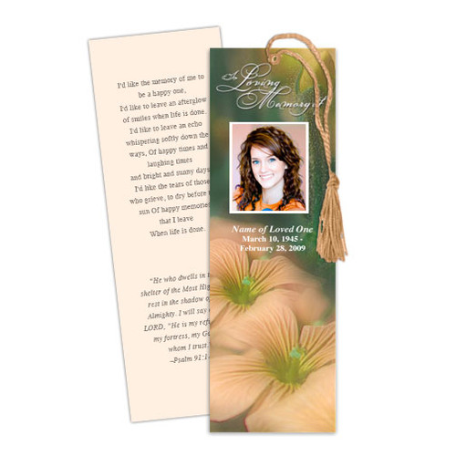 Floral DIY Funeral Memorial Bookmark Template