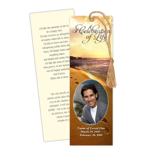 Footprints DIY Funeral Memorial Bookmarks Template