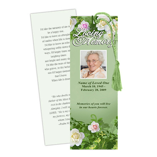 Garden DIY Funeral Memorial Bookmark Template