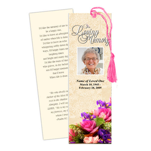 Golden DIY Funeral Memorial Bookmark Template