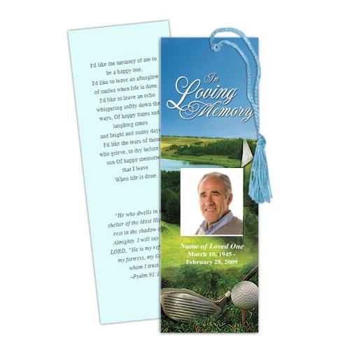 Golfer DIY Funeral Memorial Bookmark Template