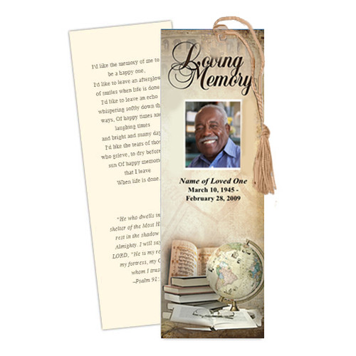 History DIY Funeral Memorial Bookmark Template