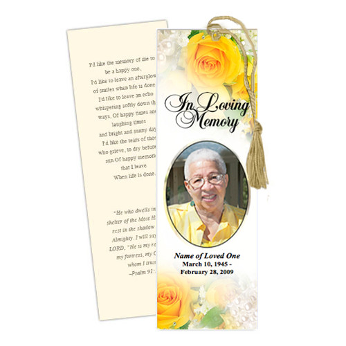 Joyful DIY Funeral Memorial Bookmark Template