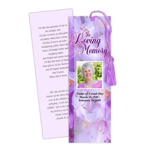 Lavender DIY Funeral Memorial Bookmark Template