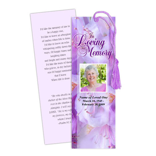 Lavender DIY Funeral Memorial Bookmark Template