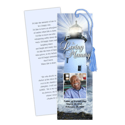 Lighthouse DIY Funeral Memorial Bookmark Template