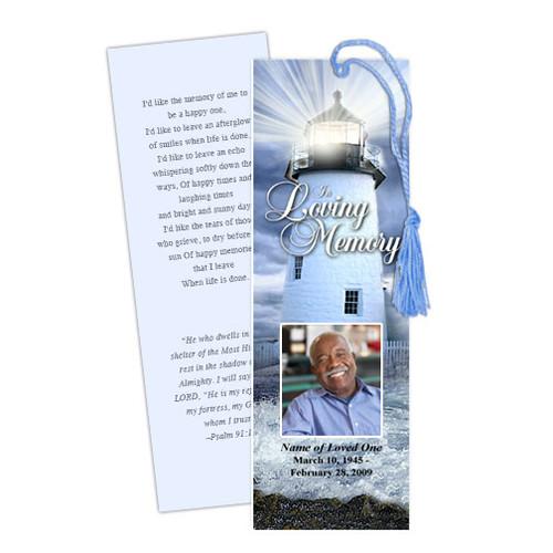 Lighthouse DIY Funeral Memorial Bookmark Template