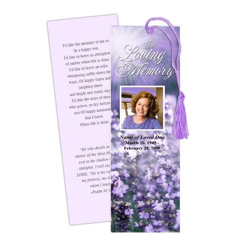 Lilac DIY Funeral Memorial Bookmark Template
