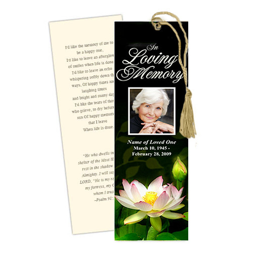 Lotus DIY Funeral Memorial Bookmark Template