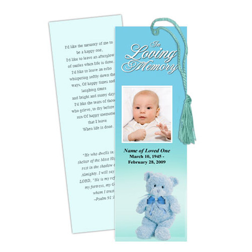 NurseryBoy DIY Funeral Memorial Bookmark Template