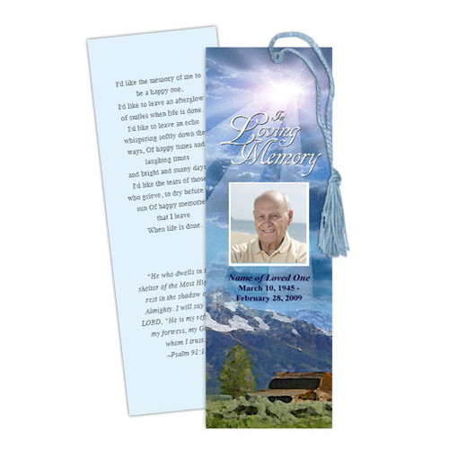 Outdoor DIY Funeral Memorial Bookmark Template