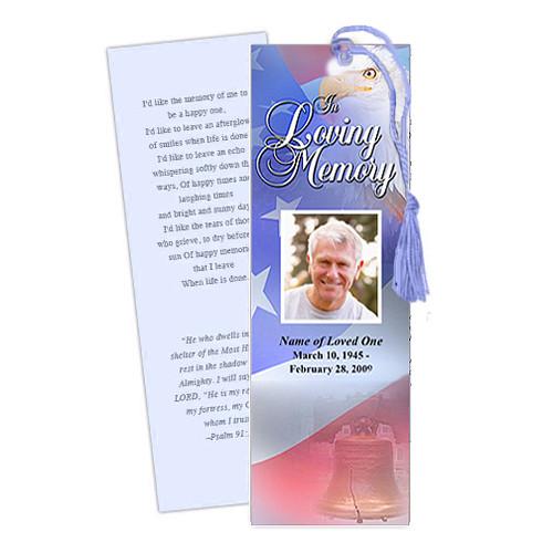 Patriot DIY Funeral Memorial Bookmark Template