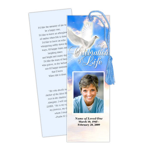 Peace DIY Funeral Memorial Bookmark Template