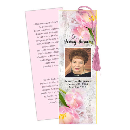 Pearls DIY Funeral Memorial Bookmark Template