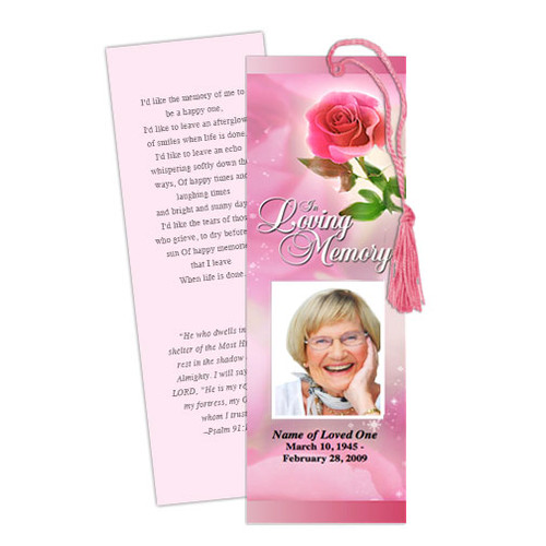 Petals DIY Funeral Memorial Bookmark Template