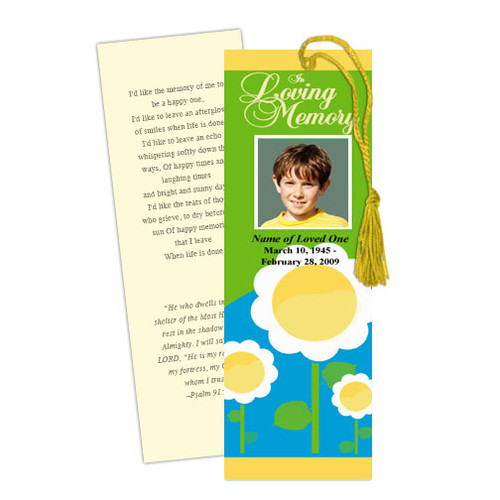 Playful DIY Funeral Memorial Bookmark Template
