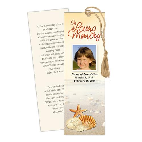 Seashore DIY Funeral Memorial Bookmark Template