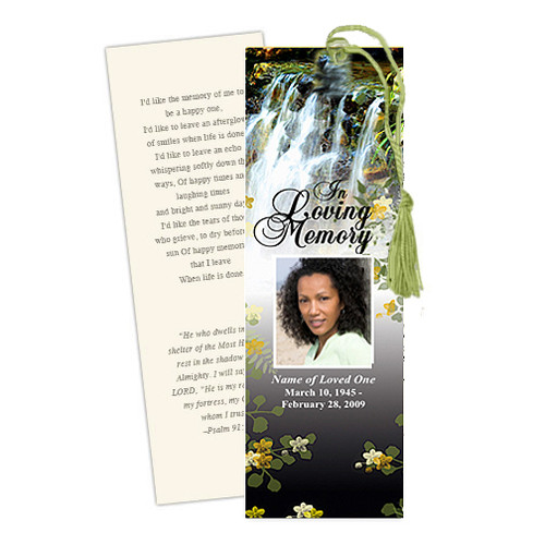 Serene DIY Funeral Memorial Bookmark Template
