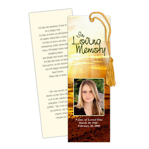 Shine DIY Funeral Memorial Bookmark Template