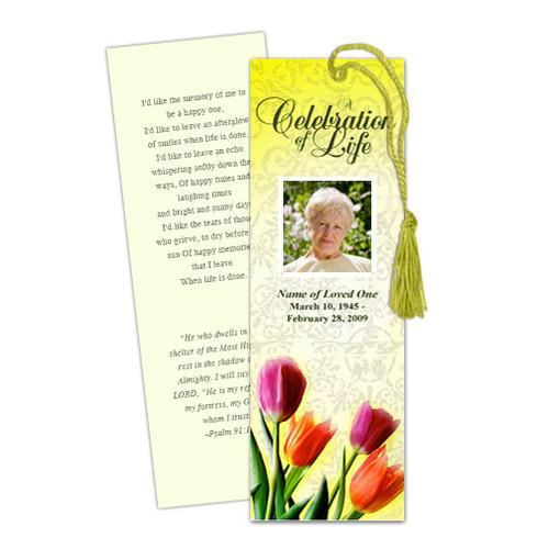 Sunny DIY Funeral Memorial Bookmark Template