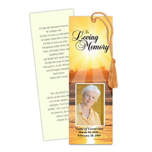 Sunrise DIY Funeral Memorial Bookmark Template