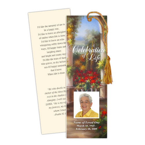 Tuscany Memorial Bookmark Template