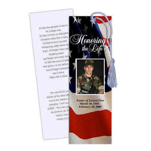 US Flag Memorial Bookmark Template