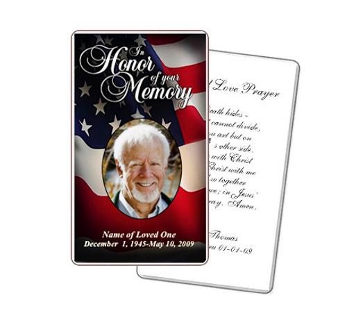 US Flag Prayer Card Template