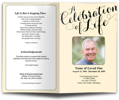 Carolyna Celebration of Life Single Fold Template