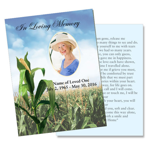 Cornfield DIY Funeral Card Template