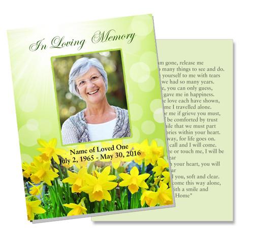 Daffodils DIY Funeral Card Template