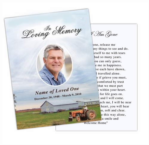Farm Enlighten DIY Funeral Card Template