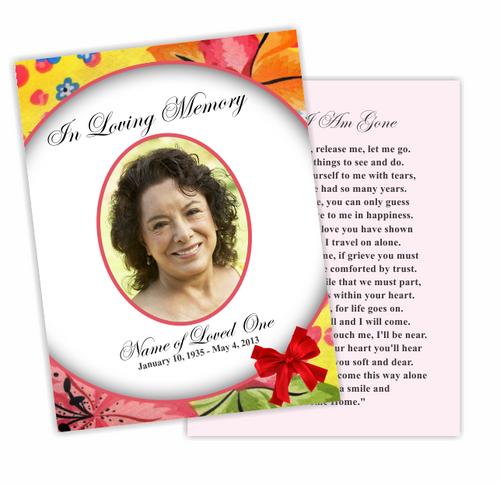 Flora Enlighten DIY Funeral Card Template