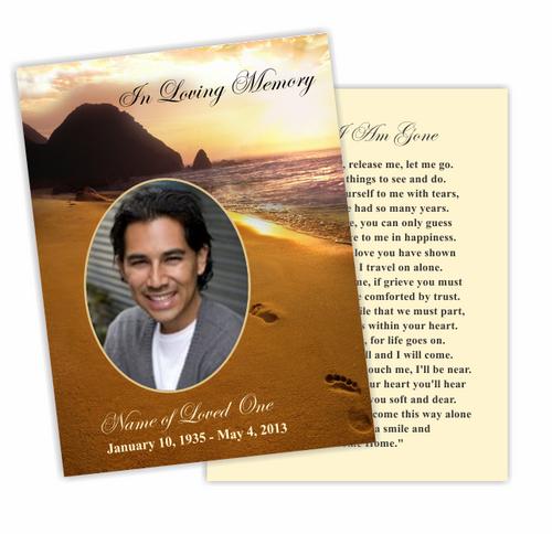 Footprints DIY Funeral Card Template