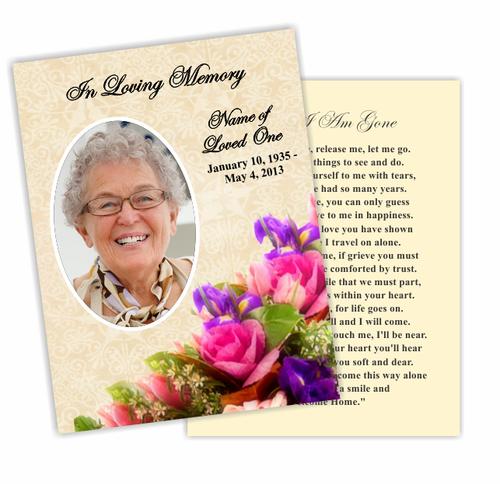 Golden DIY Funeral Card Template