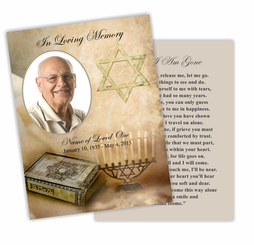 Jewish DIY Funeral Card Template