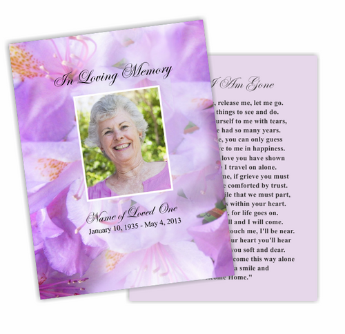 Lavender DIY Funeral Card Template