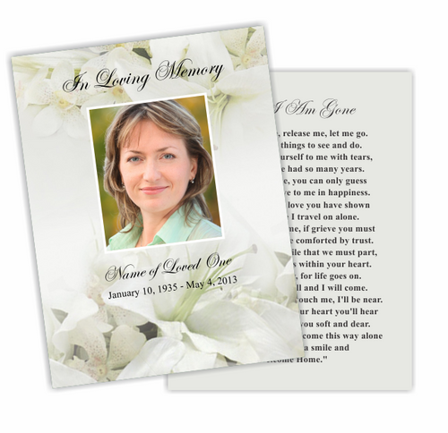 Lily DIY Funeral Card Template