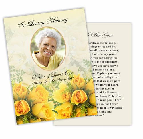 Saffron DIY Funeral Card Template