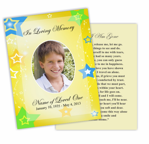 Starry DIY Funeral Card Template