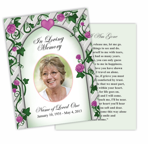 Trellis DIY Funeral Card Template