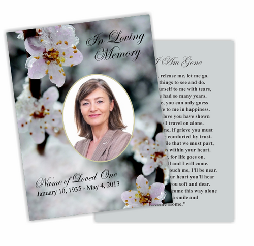 Winter Flat Funeral Card Template