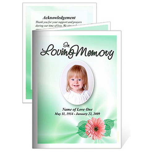 Blossom Small Folded Funeral Card Template