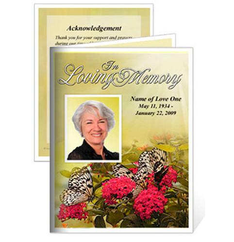 Bouquet Small Folded Funeral Card Template